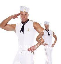Novos trajes para homens halloween traje cosplay homens brancos terno de marinheiro da marinha trajes terno fantasias D-1053(China (Mainland))