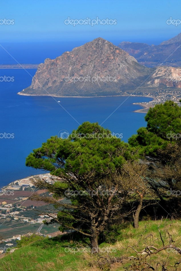 Elevated view of Cofano taken from the medieval village of Erice - Sicily