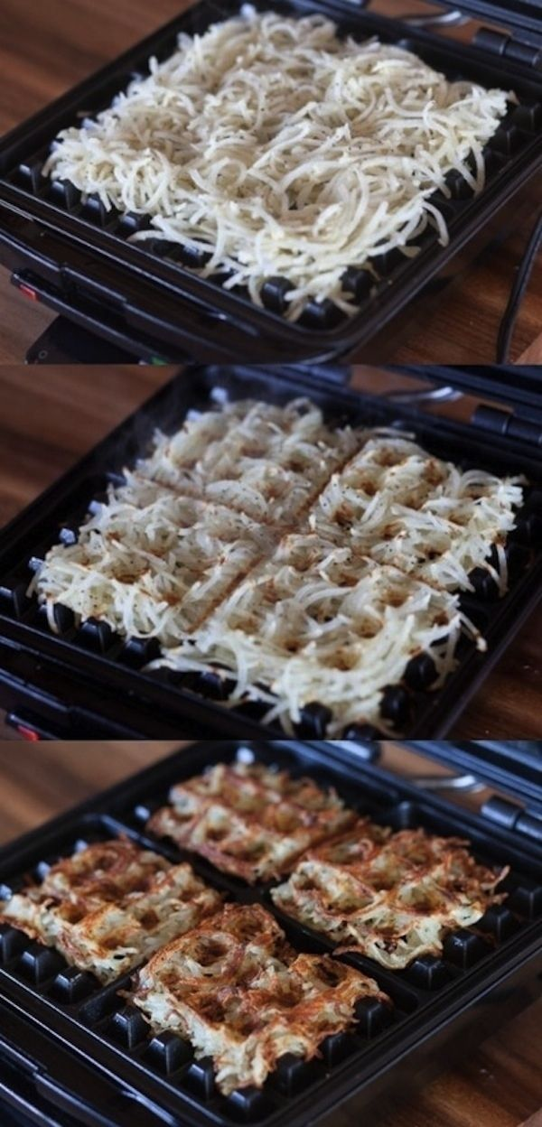 Use a Waffle Iron for Hashbrowns. | Community Post: 40 Creative Food Hacks That Will Change The Way You Cook