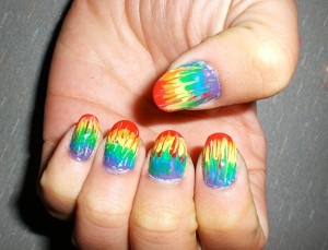 In Japanese nail art, nail artists use hand-painting or airbrush techniques on on acrylic nail design chips that are then attached to the real nail underneath.