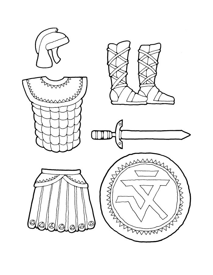 armor coloring pages | Full Armor Of God Coloring Sheet Sketch Coloring Page