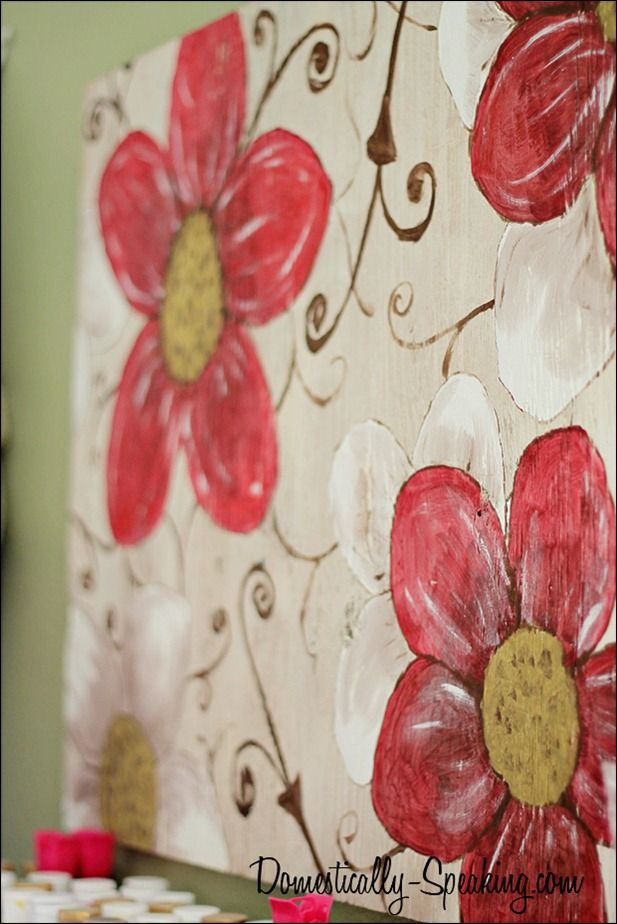 Create art with plywood as your canvas! Items needed: plywood, acrylic paint and brushes.