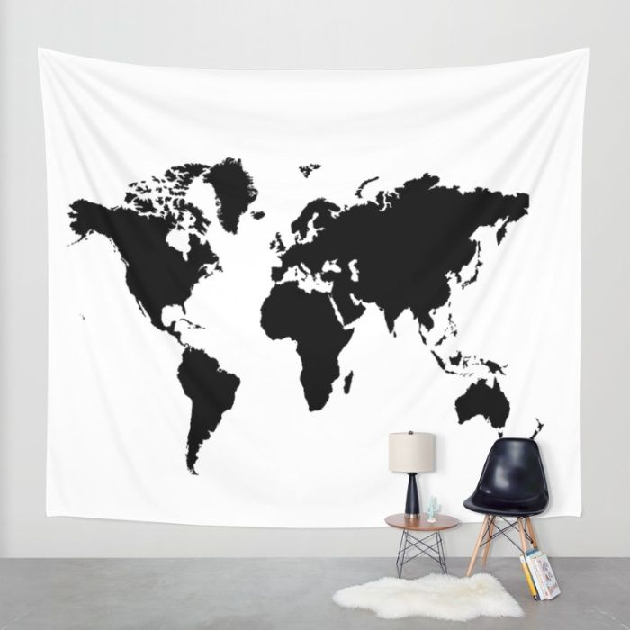 Buy Black and White world map Wall Tapestry by haroulita. Worldwide shipping available at Society6.com. Just one of millions of high quality products available.