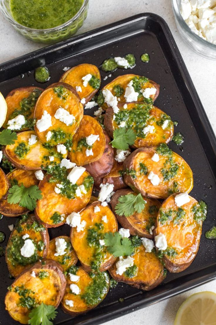 Roasted sweet potato with homemade chimichurri and feta cheese