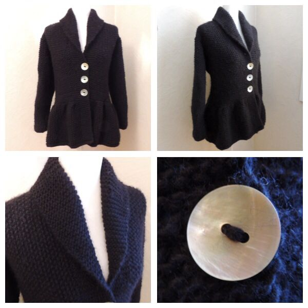 Peplum jacket. Moss-stitches (perlestrikk) and mother if pearl buttons (perlemorknapper).