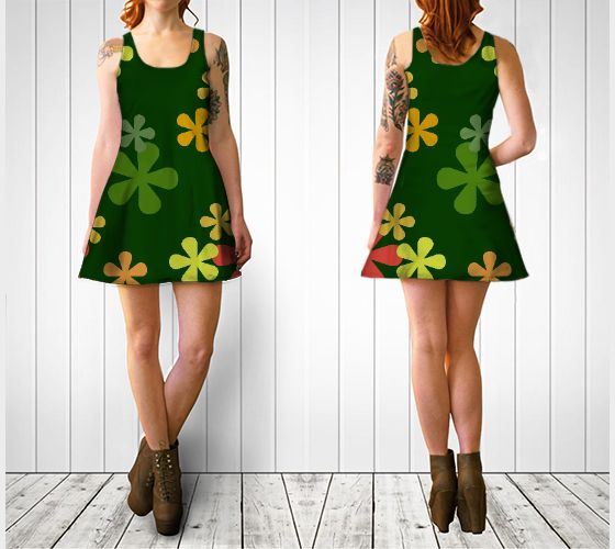 "Flare dress ""Citrus Retro Flowers Flare Dress"" by Cori-Beth's Originals at Art of Where."