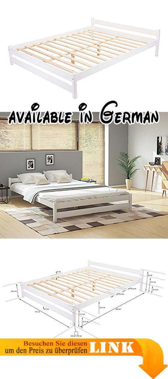 Hochwertig B077NCKHLC : Holzbett Ehebett Doppelbett Weiß Nuss Bett Mit Lattenrost Schlafzimmer  Klassisch 2 Personen Groß Klein (140 X 200 Cm Weiß). Toronto Isu2026