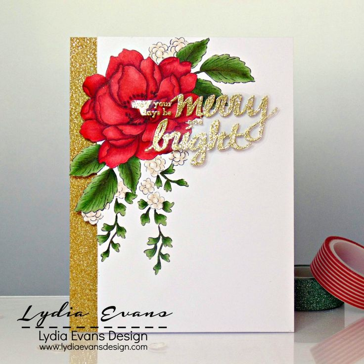 handmade Christmas card by Lydia Evans ... gorgeous peony spray stamped and colored with Copics ... luv how she glitter embossed the sentiment on acetate and placed it so it floats over the image ...