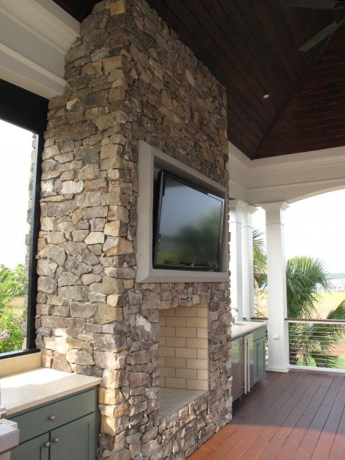 Brown Meihaus Construction Fantastic Outdoor Living Space With Covered Deck  Patio, Stone Fireplace With Flatscreen Tv, Green Shaker Kitchen Cabinetu2026