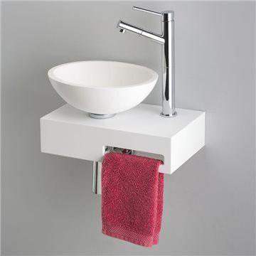Petit lave-mains design sur support 40x25 cm en Solid Surface + porte-serviette