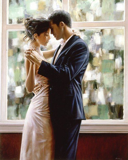 Artist: Rob Hefferan: dance; dancing; couple; lovers; love; beautiful; beauty; hyper realistic oil painting; paintings; the look of love; art; romance; romantic