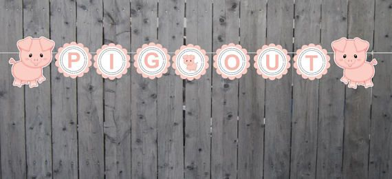 Pig Banner Pig Birthday Pig Party Pig Baby Shower Pig Out
