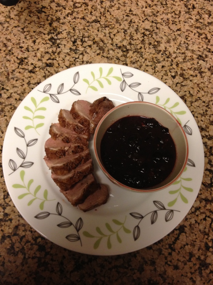 Peppered Duck Breasts With Cherry-Port Sauce Recipe — Dishmaps