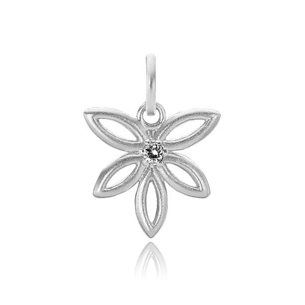 BLOSSOM pendant shaped like a flower with a single zirconia in the center in matt white sterling silver - Danish design jewelry by Izabel Camille. Price: EUR 25 No. A5076sw www.izabelcamille.com