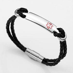 Medical ID Black Leather Bracelet