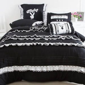 PLAYBOY BUNNY FRENCH RUFFLES BLACK WHITE KING Bed QUILT DOONA COVER SET NEW