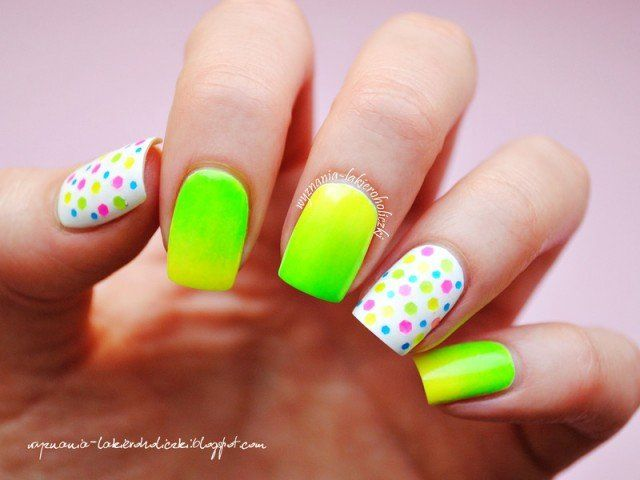 Neon Nails with Dots