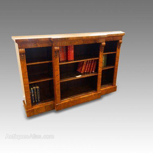 Antique Open Bookcases Victorian Breakfront Walnut Bookcase
