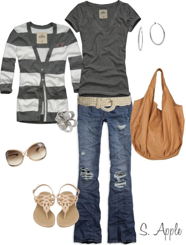 Spring Outfit: Charcoal Stripes, Fashion, Clothes Style, Clothing Style, Dream Closet, Cardigan, Spring Summer, Fall Outfit, Spring Outfits