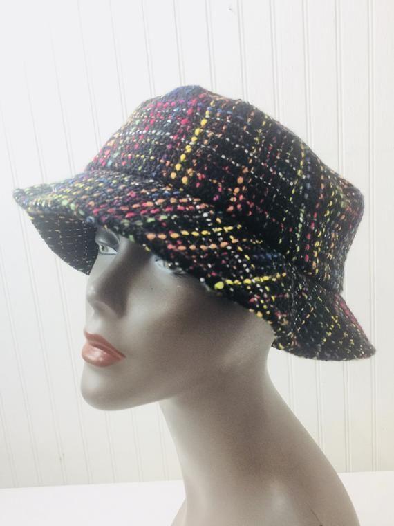 8551d662 Vintage Hat, rainbow hat, bucket hat, Liz Claiborne, vintage fashion, 1980s,  wool hat, black hat, multicolored,