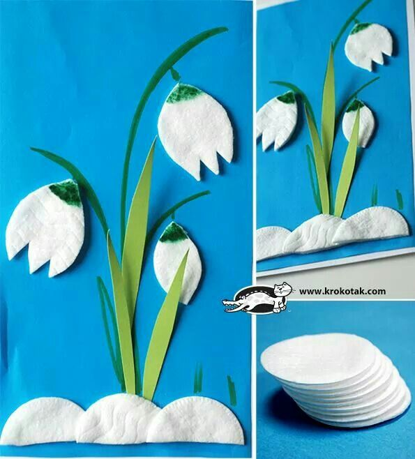 Frühlingsknotenblumen aus Wattepads