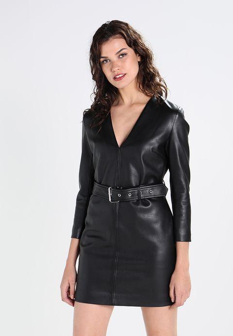 YEXENIA Etuikleid black   Lederkleid schwarz, Leder