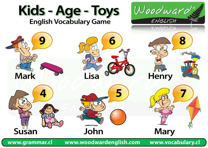 Toy Vocabulary Game : Basic english vocabulary game about kids their ages and