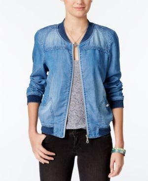 American Rag Denim Bomber Jacket, Only at Macy's - Blue XXL