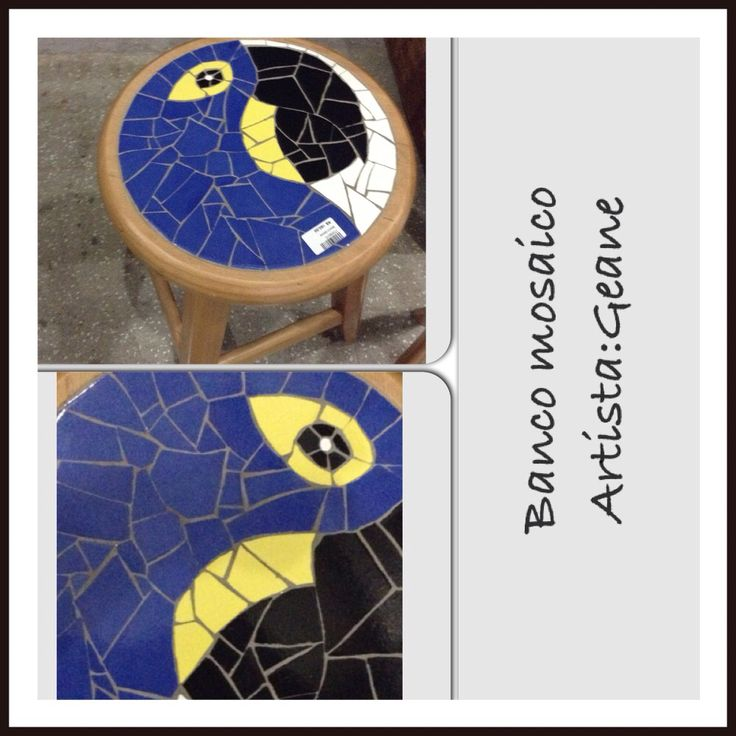 Banco mosaico arara azul