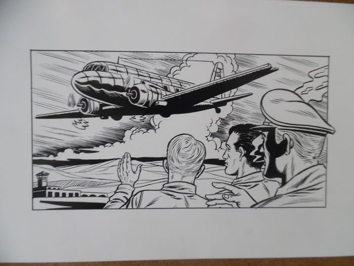 Marniquet, Frédéric - 2 original illustrations - tribute to Buck Danny + Aeroplanes - W.B.