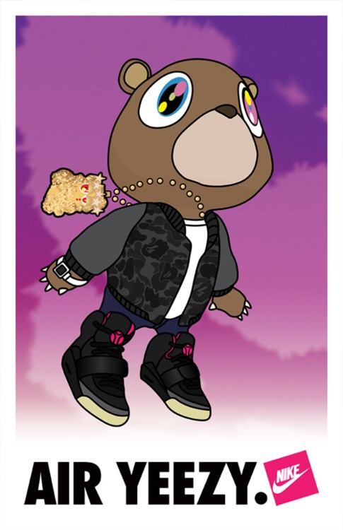 """Kanye West Dropout bear"" from his first three albums most notably his Graduation album."
