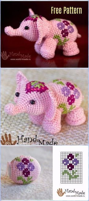 Crochet Pink Flower Elephant Free Pattern - Crochet Elephant Free Patterns