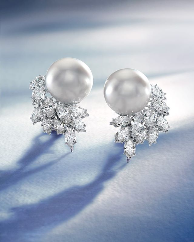 South Sea Cultured Pearl Earrings set in Platinum. 16 x 17.4mm, 9.46 ctw.