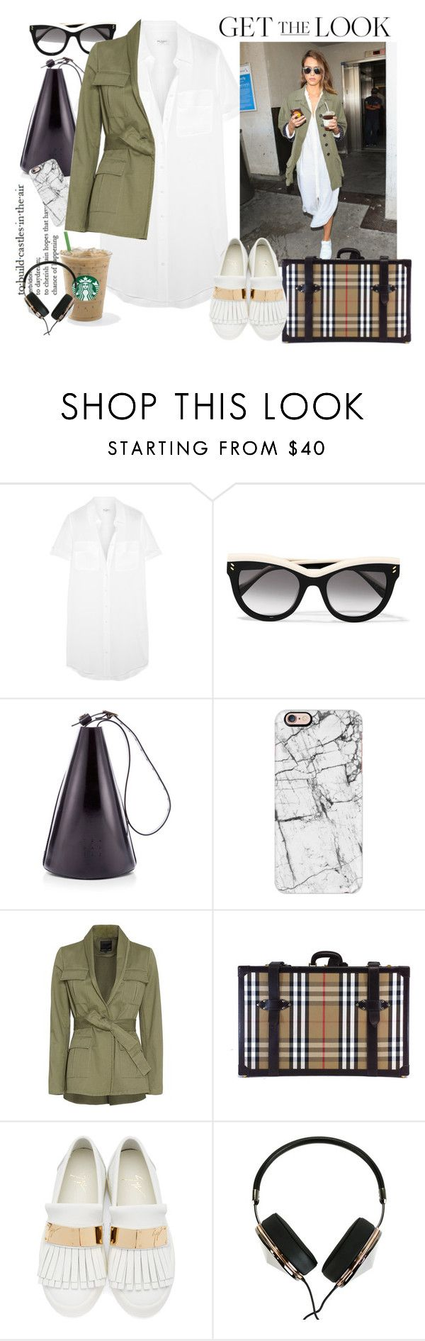"""Learning To Fly"" by harperleo ❤ liked on Polyvore featuring Equipment, STELLA McCARTNEY, TradeMark, Casetify, Marissa Webb, Burberry, Giuseppe Zanotti, Frends, GetTheLook and airportstyle"