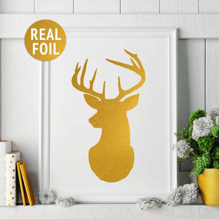 Real Gold Foil Print Deer Head Print Gallery Wall Art Rose Gold Deer Print Deer Silhouette Wall Art Woodland Home Decor Deer Antlers