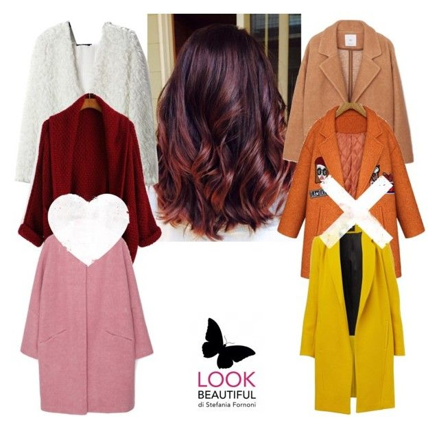 Cherry bombre hair matching coat colors by stefania-fornoni on Polyvore featuring polyvore, fashion, style, MANGO and clothing