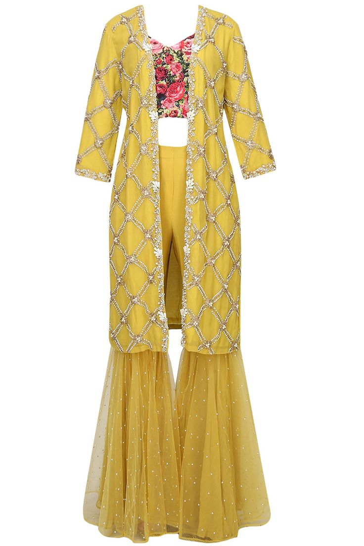 BHUMIKA SHARMA | Mustard yellow pearl embroidered jacket with black rose printed blouse and sequinned gharara pants available only at Pernia's Pop Up Shop.
