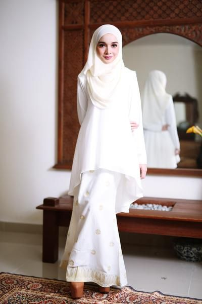 Fish Tail Songket Off White (Gold)
