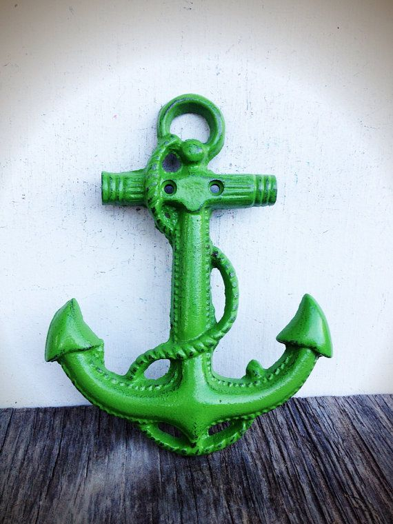 BOLD tropical leafy green NAUTICAL anchor wall hanging // coastal beach house decor // SHABBY cottage chic // cast iron