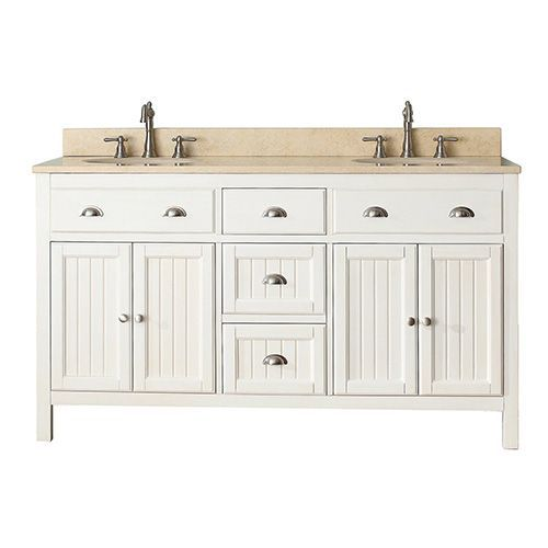 Hamilton French White 60 Inch Vanity Combo With Galala Beige Marble Top Avanity Vanities B