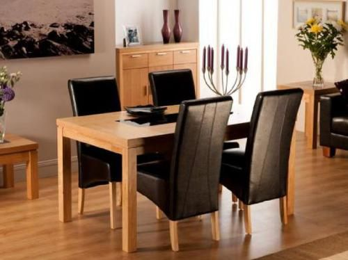Lombok, 1.2m dining table, dining table, oak, black inlets, oak dining set, oak dining table,