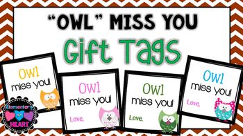 10 gift tags that say Owl miss you!-5 different square gift tags ( 2 per page)-5…