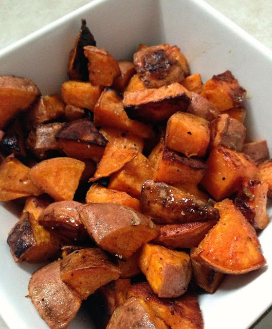 healthy and delicious side dish: coconut oil & honey roasted sweet potatoes-great way to use our own homegrown honey! Yummmm~