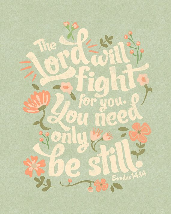 Exodus 14:14 Bible Verse Floral Typography Print by InkLaneDesign