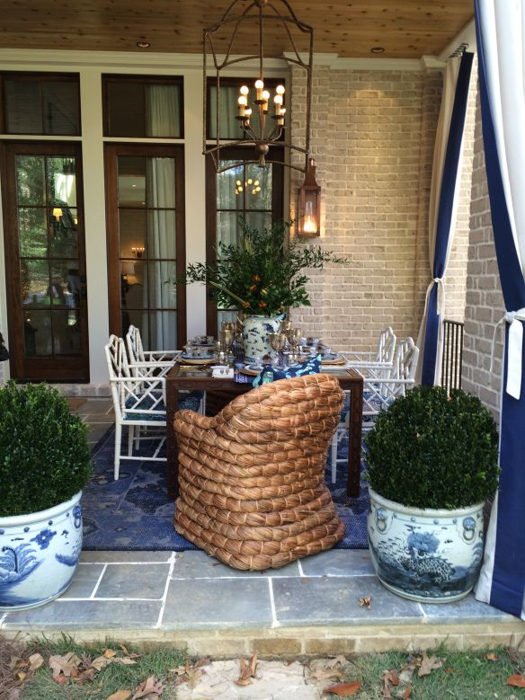 Potted Boxwoods in blue and white pots designed by Parker Kennedy Living