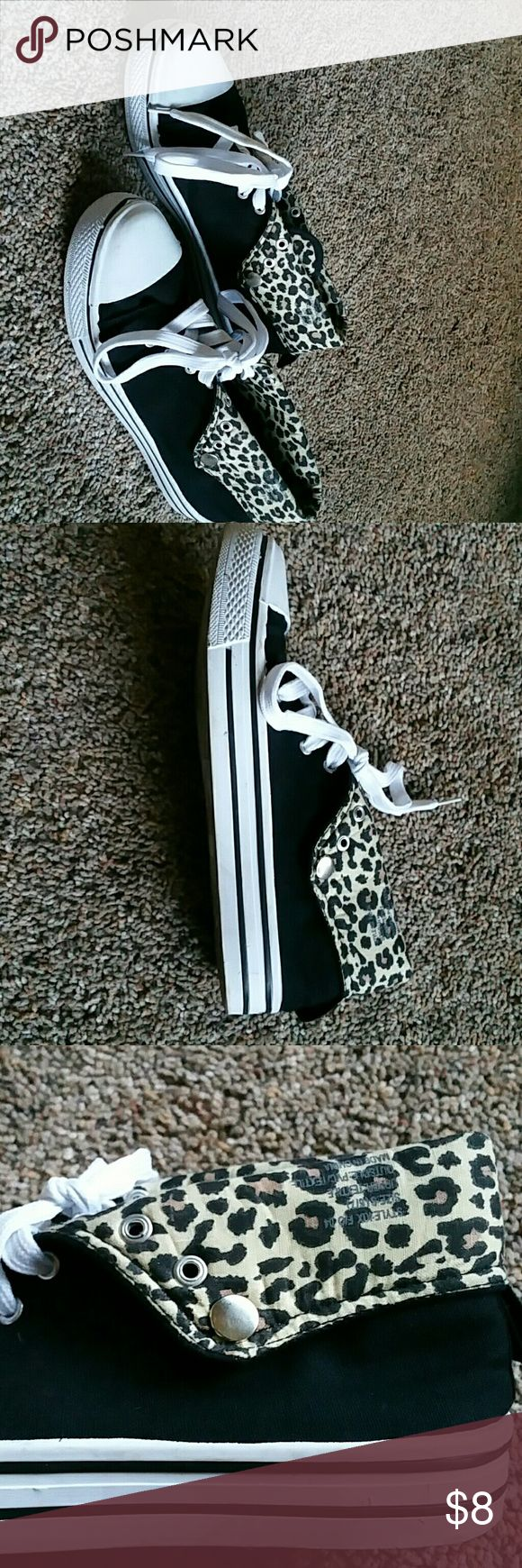 "Shoes Leopard print fold down ""knock off"" converse style shoe. Rue 21 Shoes Sneakers"