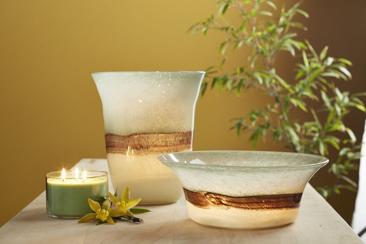 Tranquility Hurricane and Tranquility 3-Wick Holder from PartyLite