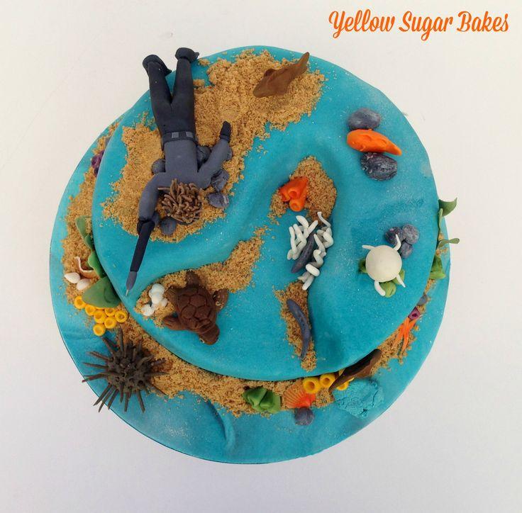 Scuba diving birthday cake