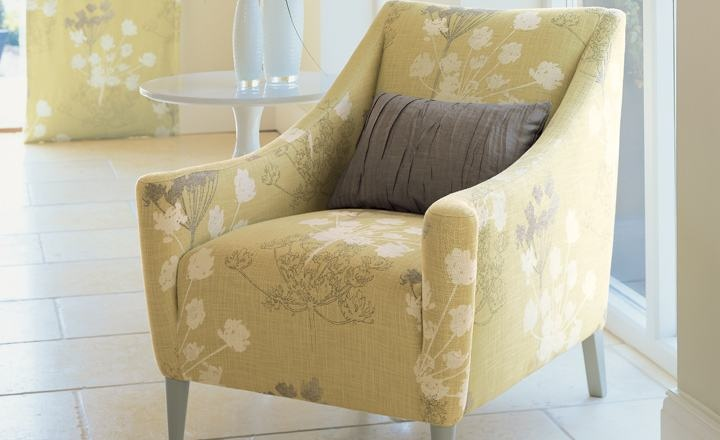 Love love love this chair and the fabric - Chervil Mimosa - Foxley Collection by VillaNova