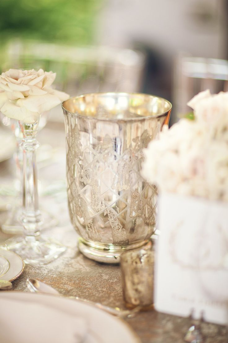 Wedding Wednesday: The Flowers mercury glass votives wedding flowers